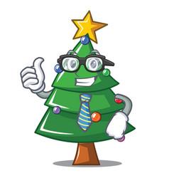 Businessman christmas tree character cartoon vector