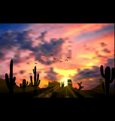 Cactus tree when the sunset vector