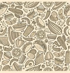 Cartoon cute hand drawn mexican food seamless vector