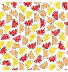 Citrus seamless pattern slices of tropical fruits vector