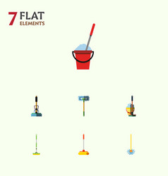 Flat icon broomstick set of bucket equipment mop vector
