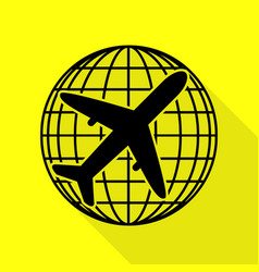 Globe and plane travel sign black icon with flat vector