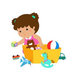 Kid girl storing toys vector