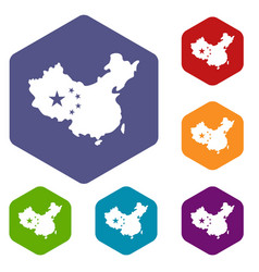 Map of china icons set hexagon vector