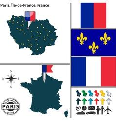 Map of paris ile de france vector