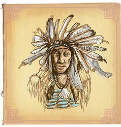 Native American Indian - An hand drawn sketch vector image