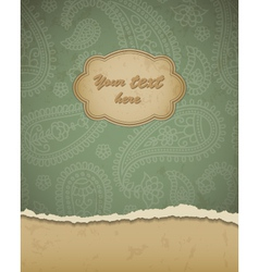 Retro paisley frame vector image vector image