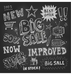 Sale tag and pricing doodles vector image vector image