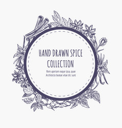 Spice collection round frame design vector