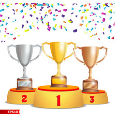 trophy cups on podium golden bronze silver vector image vector image