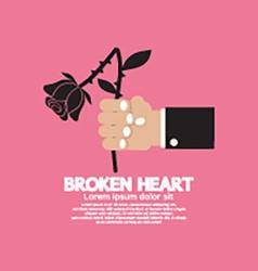 Wither rose in hand broken heart concept vector