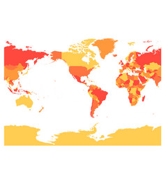 world map in four shades of red on white vector image vector image