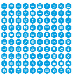 100 work icons set blue vector