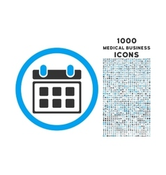 Calendar rounded icon with 1000 bonus icons vector