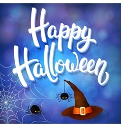Halloween greeting card with witch hat spiders vector