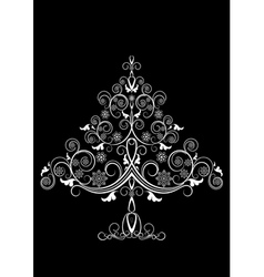 Openwork White christmas tree with snowflakes vector image