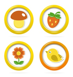 Summer icons in colorful bubbles vector