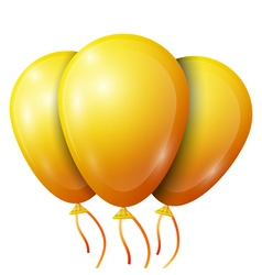 Realistic yellow balloons with ribbon isolated on vector image