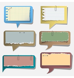 Six torn paper speech bubbles vector image