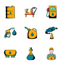 petrol icons set cartoon style vector image