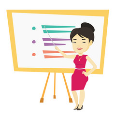 Teacher or student standing in front of board vector