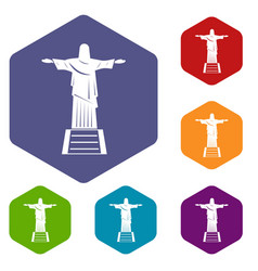 The christ the redeemer statue icons set hexagon vector