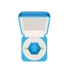 Ring with sapphire in box top view jewel isolated vector
