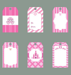 Set of cute creative cards with princess theme vector