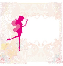 Background with a beautiful fairy silhouette with vector