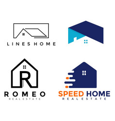 4 set logo home business vector image vector image