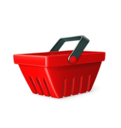 Red shopping basket icon vector