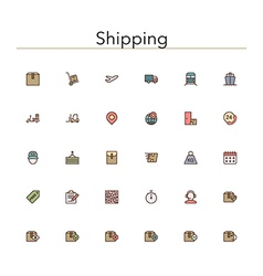 Shipping colored line icons vector