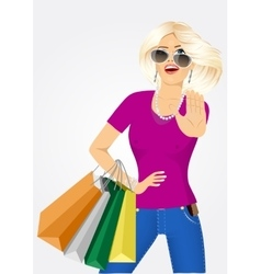 Young beautiful woman with shopping bags vector