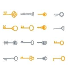 Key flat icons set vector image
