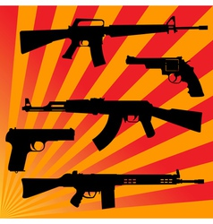 pistols and submachine gun vector image