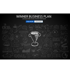 Winning business plan concept with doodle design vector