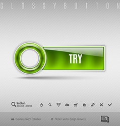 Green plastic button on the gray background design vector