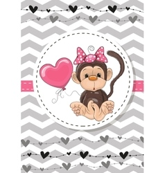 Monkey with balloon vector