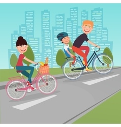 Happy family riding bikes in the city vector