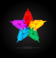 Abstract colorful star on black background vector image