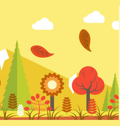 autumn landscape with orange leaves and yellow vector image