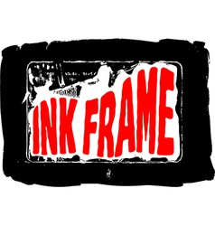 Black grungy ink frame vector image