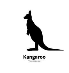 black silhouette kangaroo vector image vector image