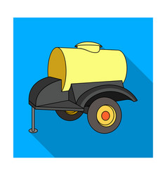 black trailer on wheels with yellow barrel vector image
