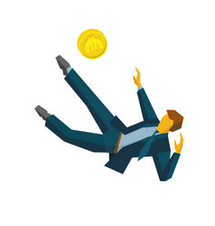 Businessman kicking coins like football player vector
