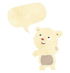 Cartoon cute waving polar bear teddy with speech vector