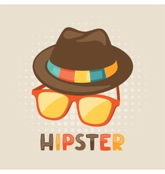 Design with hat and glasses in hipster style vector