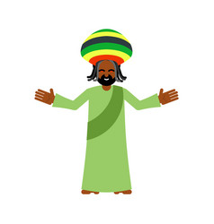 God ganja idol jah gives rasta reggae rastafarian vector