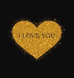gold glitter heart on black background vector image vector image