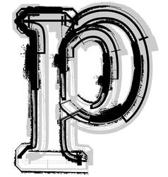 Grunge font letter p vector image vector image